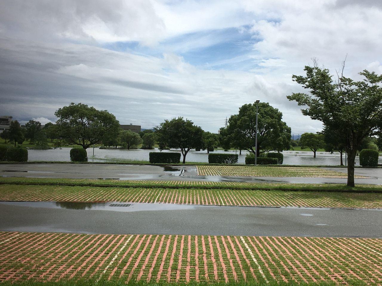 大雨で冠水した水前寺江津湖公園・広木地区の駐車場と冠水している緑地