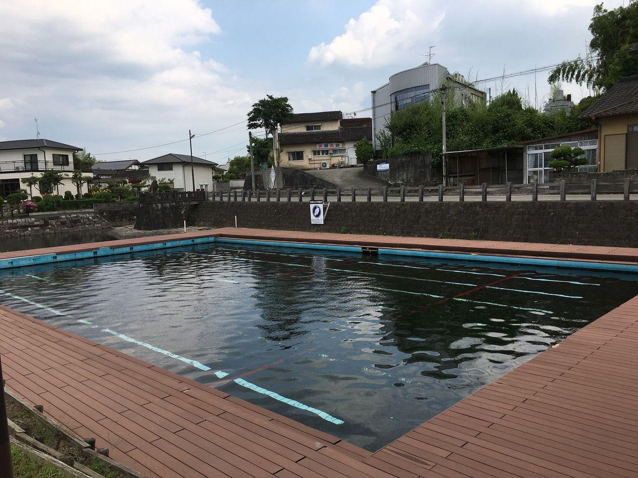 湧水による天然プール 水温 年中18度