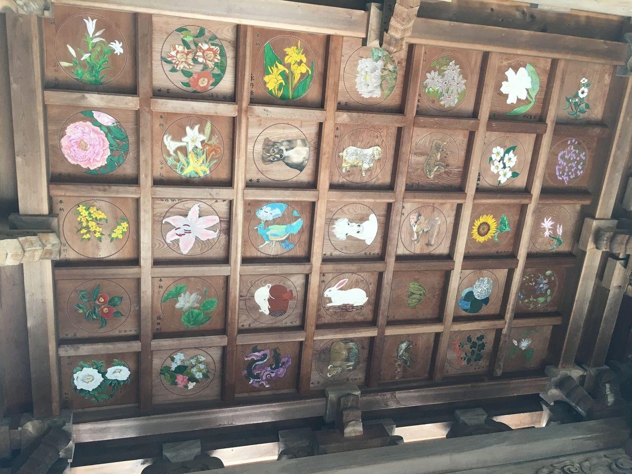 楼門の天井に描かれた色鮮やかな彩色画