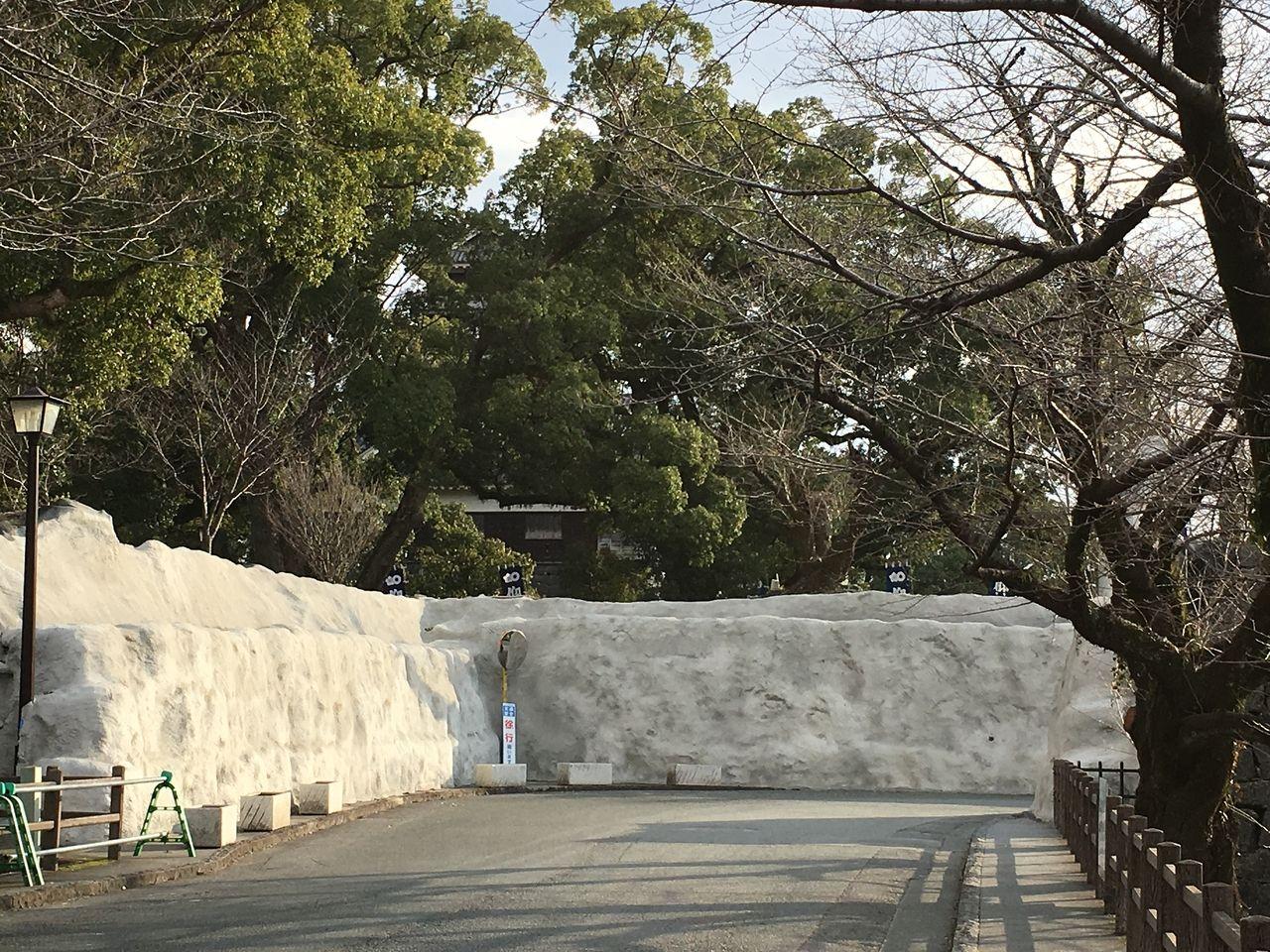 加藤神社北側の養生されている石垣