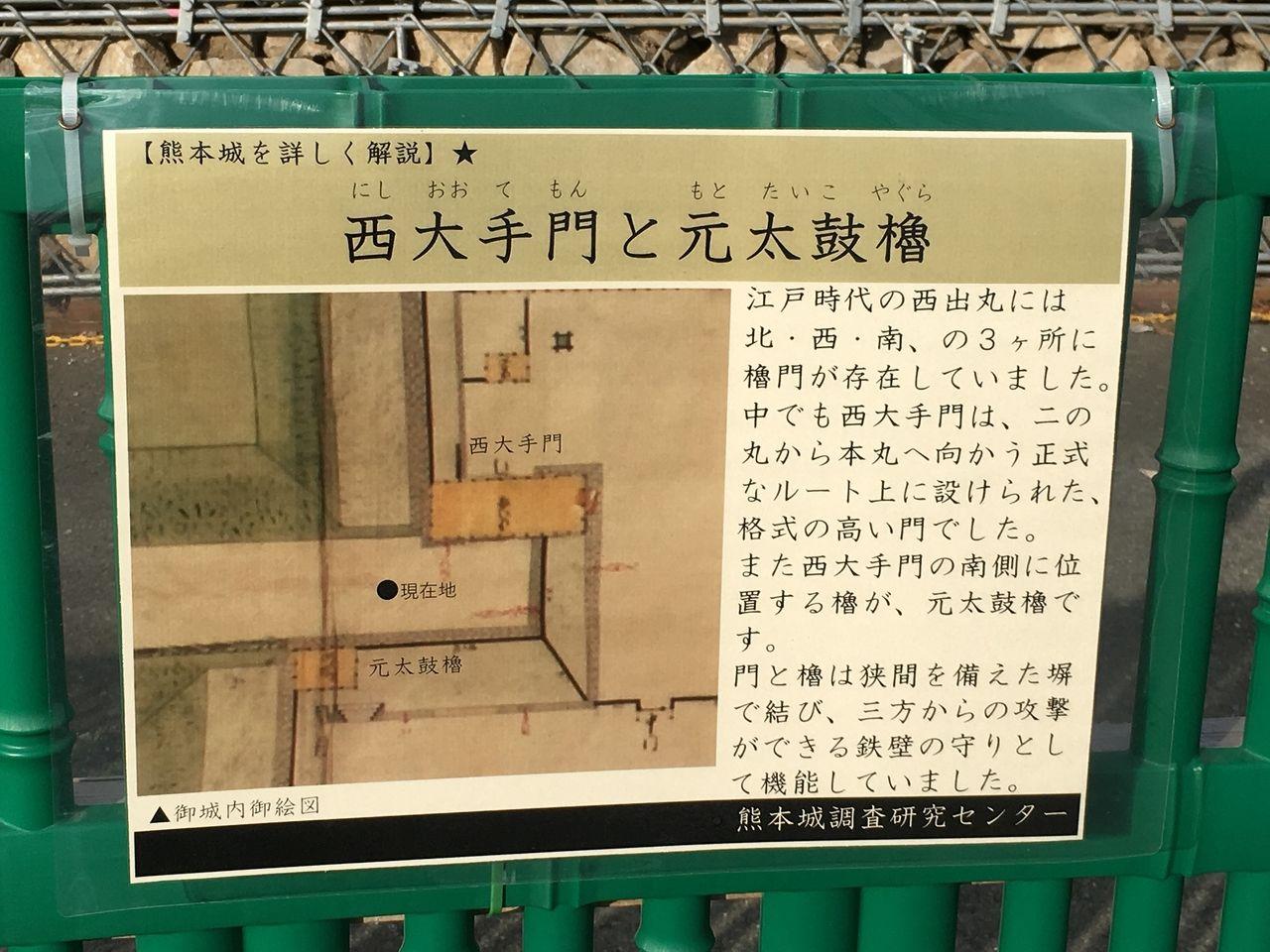 西大手門と元太鼓櫓の説明
