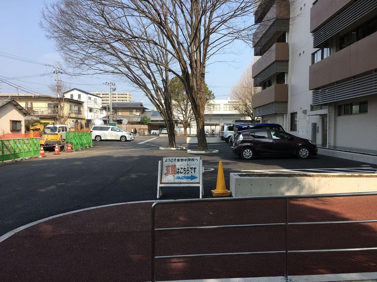 校舎西側の駐車場もかなり広くなりそうです。