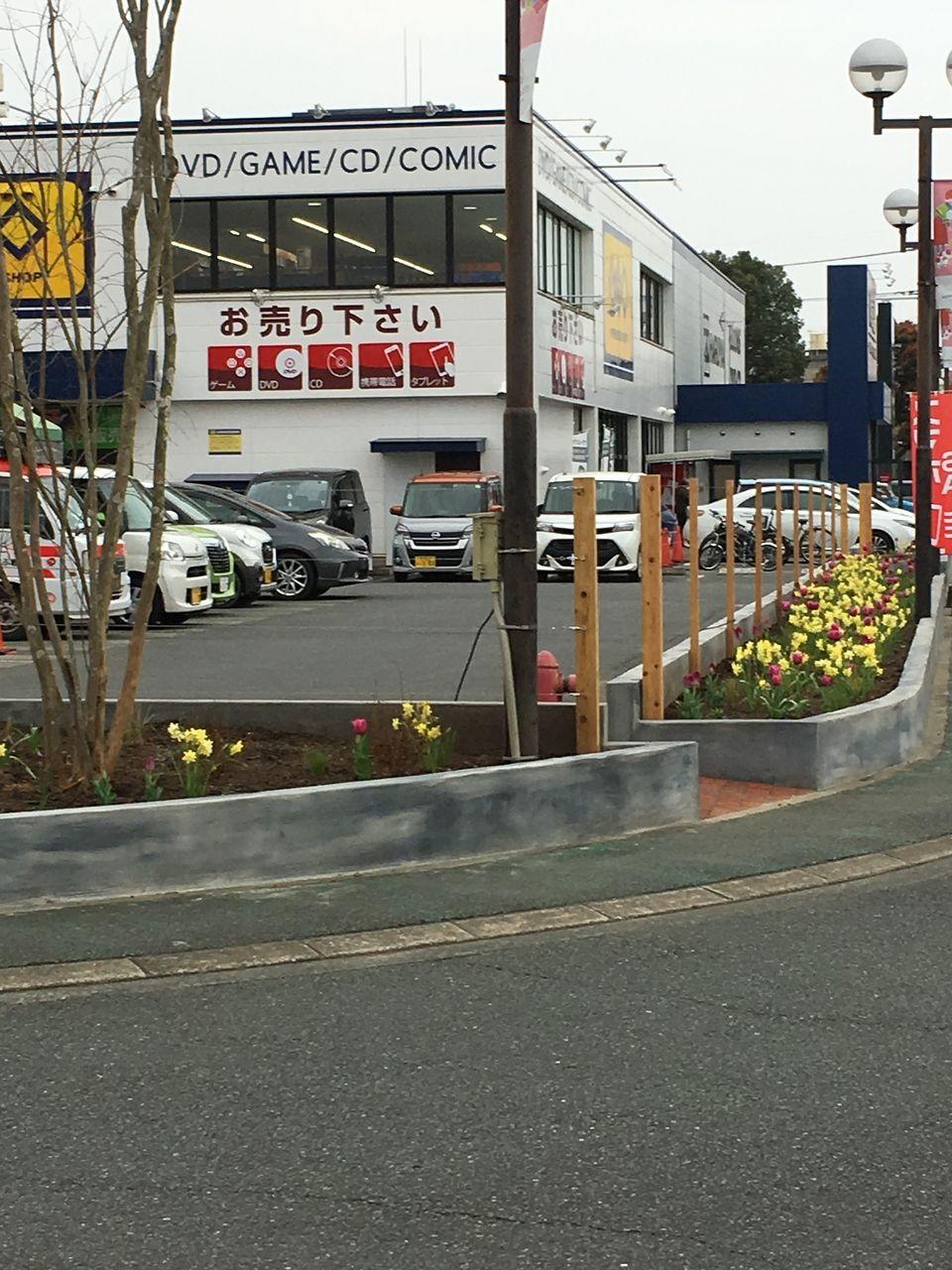 サンロードシティ熊本で花壇の花の植え替えが行われたようです。